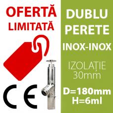 COS DE FUM INOX-INOX, IZOLAT, D=180mm, H=6m, profesional, cu marcaj CE