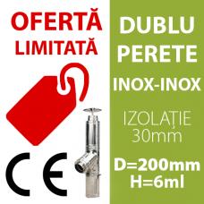 COS DE FUM INOX-INOX, IZOLAT, D=200mm, H=6m, profesional, cu marcaj CE