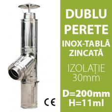 COS DE FUM INOX-ZINC, IZOLAT, D=200mm, H=11m
