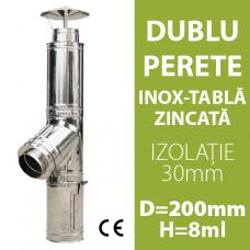 COS DE FUM INOX-ZINC, IZOLAT, D=200mm, H=8m