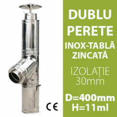 COS DE FUM INOX-ZINC, IZOLAT, D=400mm, H=11m