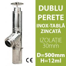 COS DE FUM INOX-ZINC, IZOLAT, D=500mm, H=12m