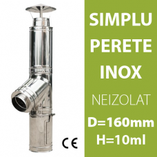 COS DE FUM INOX, NEIZOLAT, D=160mm, H=10m