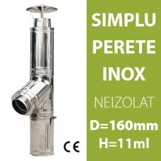 COS DE FUM INOX, NEIZOLAT, D=160mm, H=11m