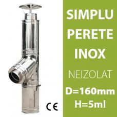COS DE FUM INOX, NEIZOLAT, D=160mm, H=5m