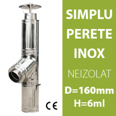 COS DE FUM INOX, NEIZOLAT, D=160mm, H=6m