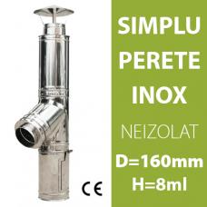 COS DE FUM INOX, NEIZOLAT, D=160mm, H=8m