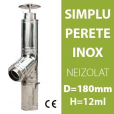 COS DE FUM INOX, NEIZOLAT, D=180mm, H=12m