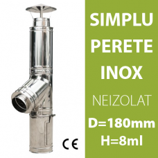 COS DE FUM INOX, NEIZOLAT, D=180mm, H=8m