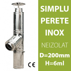 COS DE FUM INOX, NEIZOLAT, D=200mm, H=6m