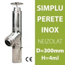 COS DE FUM INOX, NEIZOLAT, D=300mm, H=4m