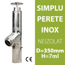 COS DE FUM INOX, NEIZOLAT, D=350mm, H=7m