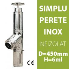 COS DE FUM INOX, NEIZOLAT, D=450mm, H=6m