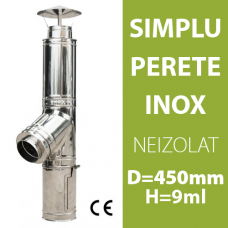 COS DE FUM INOX, NEIZOLAT, D=450mm, H=9m