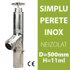 COS DE FUM INOX, NEIZOLAT, D=500mm, H=11m
