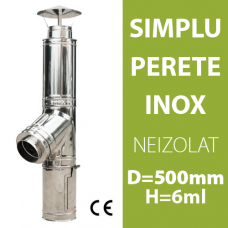 COS DE FUM INOX, NEIZOLAT, D=500mm, H=6m