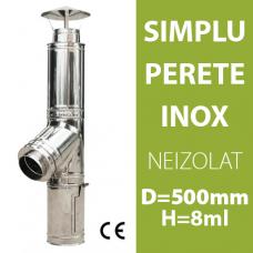 COS DE FUM INOX, NEIZOLAT, D=500mm, H=8m