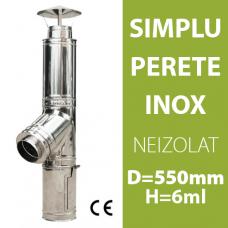 COS DE FUM INOX, NEIZOLAT, D=550mm, H=6m